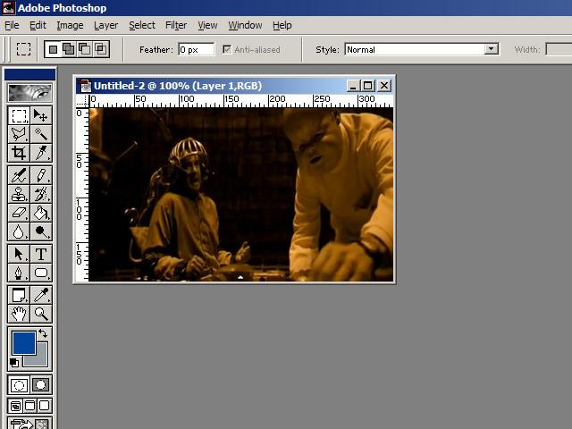 Первым делом кадр из фильма был вставлен в Adobe Photoshop