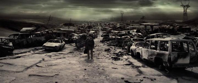 Книга Илая: Илай идёт между сгоревшими автомобилями