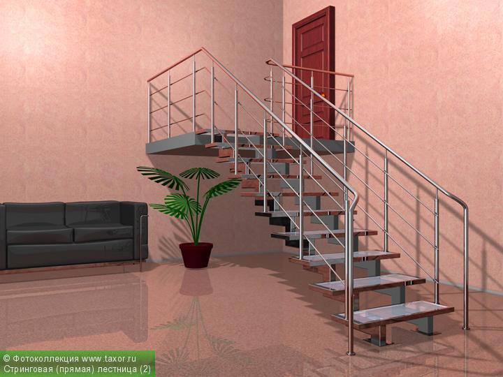 Галерея: 3D-галерея — Стринговая (прямая) лестница (2)